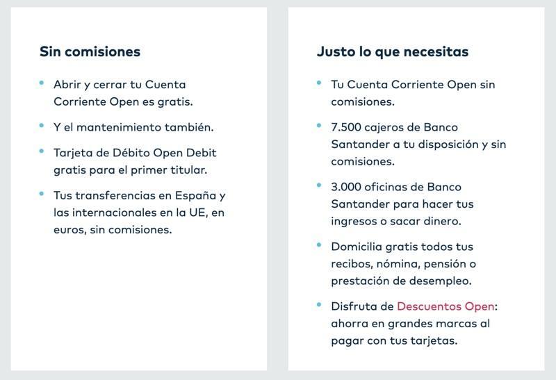 Comisiones cuenta corriente Openbank